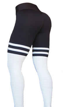 RAW By Adriana Kuhl High Sox Leggings Black/White