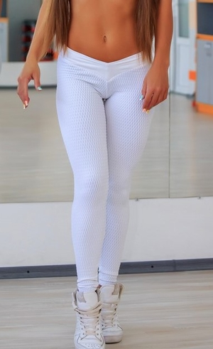 Brazilian Butt Scrunch Tights White
