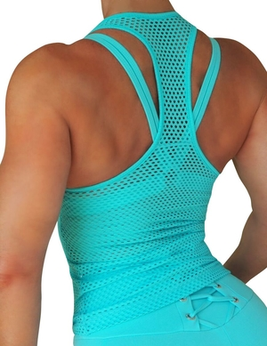 RAW By Adriana Kuhl Net Tanktop Baby Blue